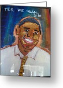 Barrack Obama Greeting Cards - Obama Yes We Did Greeting Card by R Bruce Macdonald
