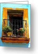 Darian Day Greeting Cards - Ochre Window in Turqoise Greeting Card by Olden Mexico
