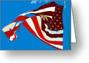 Red White And Blue Greeting Cards - Old glory flying Greeting Card by David Lee Thompson