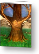 Oak Pastels Greeting Cards - Old Oak Tree Greeting Card by Misty VanPool
