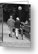 Old Bike Greeting Cards - Older couple in the park Greeting Card by Edward Myers