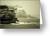 Sepia Greeting Cards - On the Rugged Cliffs Greeting Card by Holly Kempe