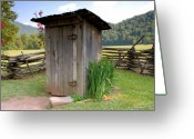 Smoky Mountains Greeting Cards - Outhouse Greeting Card by David Lee Thompson