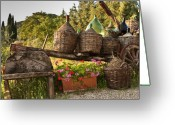 Jugs Greeting Cards - Outside Botege del Trenta Restaurant in Villa a Sesta Greeting Card by Jon Cretarolo
