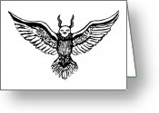 Eagle Drawings Greeting Cards - Owlgle Greeting Card by Karl Addison