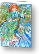Angel Pastels Greeting Cards - Painted angel Greeting Card by Laurie Parker