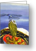 Dragonfly Greeting Cards - Painted Turtle and Dragonfly Greeting Card by Catherine G McElroy