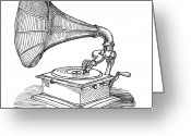 Hear Greeting Cards - Phonograph Greeting Card by Karl Addison