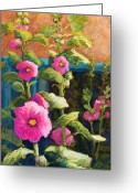 Flowers Pastels Greeting Cards - Pink Hollyhocks Greeting Card by Candy Mayer
