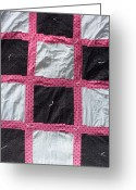 Sewing Tapestries - Textiles Greeting Cards - Pink White and Black Dot Quilt Greeting Card by Brianna Emily Thompson