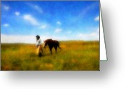 Horses Art Print Greeting Cards - Pleasure Pasture Greeting Card by Nick Sokoloff