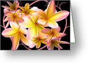 Vines Mixed Media Greeting Cards - Plumeria and vines Greeting Card by Evelyn Patrick