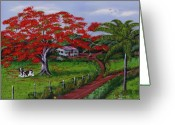 Wooden Home Greeting Cards - Poinciana Blvd Greeting Card by Luis F Rodriguez