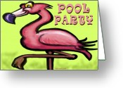 Humor Greeting Cards - Pool Party Greeting Card by Kevin Middleton