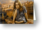 Venice - Italy Greeting Cards - Portrait Greeting Card by Arthur Braginsky