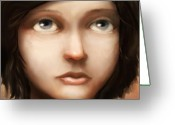 Brunette Greeting Cards - Portrait of Vela Greeting Card by Ethan Harris