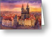 Urban Watercolour Greeting Cards - Prague Old Town Square 02 Greeting Card by Yuriy  Shevchuk