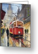 Night Painting Greeting Cards - Prague Old Tram 07 Greeting Card by Yuriy  Shevchuk