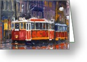 Rain Painting Greeting Cards - Prague Old Tram 09 Greeting Card by Yuriy  Shevchuk