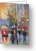 Night Painting Greeting Cards - Prague Old Tram Vaclavske Square Greeting Card by Yuriy  Shevchuk