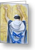 Faith Pastels Greeting Cards - Prayer At Wailing Wall Greeting Card by Scott Easom