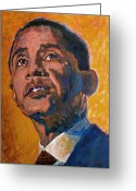 President Obama Greeting Cards - President Barack Obama Greeting Card by David Lloyd Glover