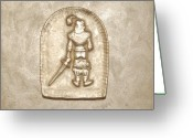 Man Art Reliefs Greeting Cards - Privacy Greeting Card by Alexander Almark