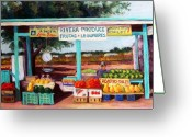 Vegetables Pastels Greeting Cards - Produce Stand Greeting Card by Candy Mayer