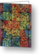Squares Tapestries - Textiles Greeting Cards - Puzzling Greeting Card by Carol Ann Waugh