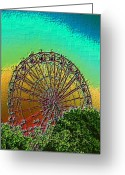 Fairgrounds Greeting Cards - Rainbow Ferris Wheel Greeting Card by Tim Allen