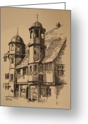 Buildings Drawings Greeting Cards - Rathaus Greeting Card by Michael Lang