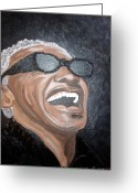 Keenya Woods Greeting Cards - Ray Charles Greeting Card by Keenya  Woods