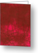 Intaglio Etching Greeting Cards - Red Abstract Shapes Greeting Card by Rockstar Artworks