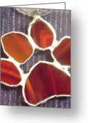 Paws Glass Art Greeting Cards - Red Paw  Greeting Card by Djl Leclerc