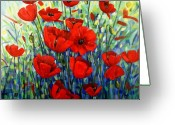 Flowers Greeting Cards - Red Poppies Greeting Card by Georgia  Mansur