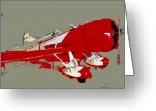 Plane Greeting Cards - Red racer Greeting Card by David Lee Thompson