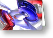 4th Greeting Cards - Red White and Blue Abstract Greeting Card by Alexander Butler