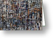 Cityscape Reliefs Greeting Cards - Reflections Greeting Card by Jelena Ignjatovic
