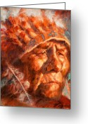 Native American Indians Greeting Cards - Remembrance of Things Past Greeting Card by Ellen Dreibelbis