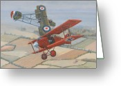 Murray Mcleod Greeting Cards - Richtofen and Hawker Combat Greeting Card by Murray McLeod