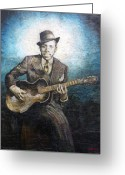 Blues Tapestries - Textiles Greeting Cards - Robert Johnson - King of the Delta Blues Greeting Card by Doug Norton