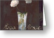 White Greeting Cards - Rosa Rosae Greeting Card by Guido Borelli