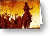 Horses Art Print Greeting Cards - Round Up Reflection Greeting Card by Nick Sokoloff