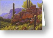 Usa Painting Greeting Cards - Saguaro Sunshine Greeting Card by Cody DeLong