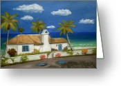 Tropical Beach Painting Greeting Cards - Sandy Point Greeting Card by Gordon Beck