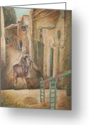 Barbara Nesin Greeting Cards - Scapegoat at Ben Yehuda Street Greeting Card by Barbara Nesin
