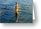 Sculling Greeting Cards - Sculling Women Greeting Card by David Lee Thompson