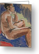Male Pastels Greeting Cards - Seated Male Greeting Card by Joanne Claxton