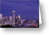 Seattle Skyline Greeting Cards - Seattle Washington at Dusk Greeting Card by Carol M Highsmith
