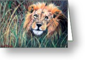 Family Pastels Greeting Cards - Serengeti Ruler Greeting Card by Carol McCarty